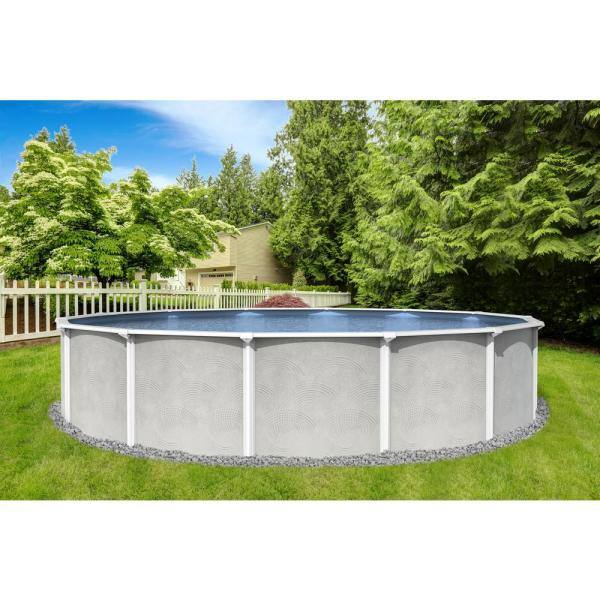 Blue Wave Maldives 18 Ft Round 52 In D X 6 In Top Rail Hard Sided Swimming Pool Package Nb19778 The Home Depot