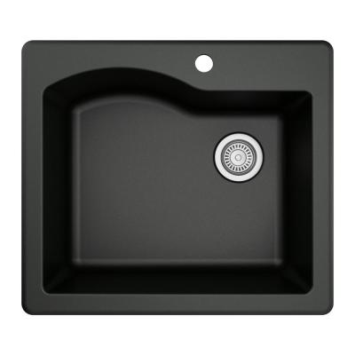 Drop-In Quartz Composite 25 in. 1-Hole Single Bowl Kitchen Sink in Black