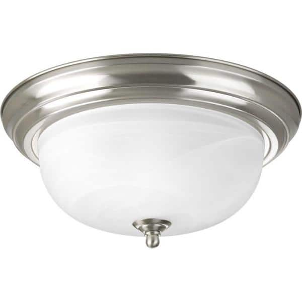 Progress Lighting 13 25 In 2 Light Brushed Nickel Flush Mount With Alabaster Glass P3925 09 The Home Depot