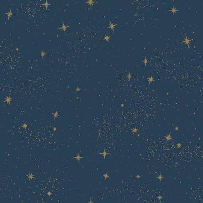 Upon A Star Navy Vinyl Peel & Stick Wallpaper Roll (Covers 28.18 Sq. Ft.)