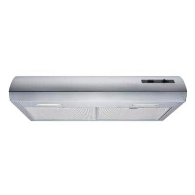 30 in. 350 CFM Convertible Under Cabinet Range Hood in Stainless Steel with Aluminum Filters and LED Lights