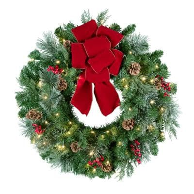 24 in. Pre-Lit LED Artificial Classic Greenery Christmas Artificial Wreath with Red Bow, Pinecones and Berries
