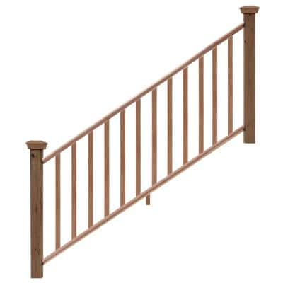 6 ft. Redwood Routed Stair Rail Kit with SE Balusters