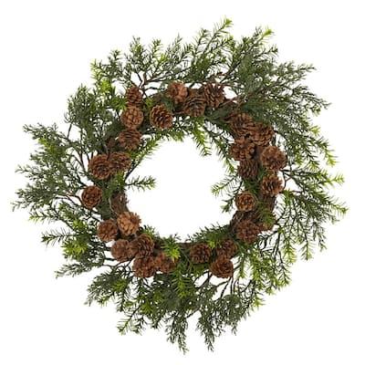 22 in. Indoor/Outdoor UV-Resistant Cedar Grass and Pine Cone Artificial Wreath