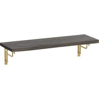 24 in. x 8 in. x 6 in. Dark Stained Solid Pine Decorative Wall Shelf with Brushed Brass Art Deco Steel Brackets