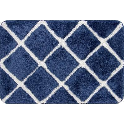 Trellis Foam Navy 18 in. x 27 in. Polyester Bath Mat