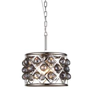 Timeless Home 12 in. L x 12 in. W x 9 in. H 3-Light Polished Nickel with Silver Shade Crystal Contemporary Pendant