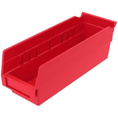 Shelf Bin 10 lbs. 11-5/8 in. x 4-1/8 in. x 4 in. Storage Tote in Red with 0.5 Gal. Storage Capacity