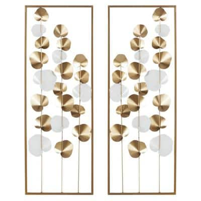 Rectangular Gold and White Metal Framed Leaf 12 in. x 33.5 in. (Set of 2)
