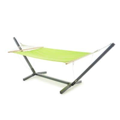 Aspen 6.5 ft. Portable Quilted Hammock Bed with Stand in Grey and Light Green