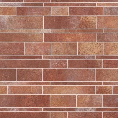 Luxe Core Railroad Terracotta 11.81 in. x 11.81 in. SPC Peel and Stick Tile (0.96 Sq. Ft. / Sheet)