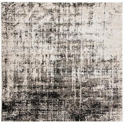 Adirondack Silver/Black 6 ft. x 6 ft. Square Abstract Area Rug