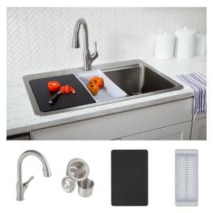 Avenue Stainless Steel 33 in. Single Bowl Undermount/Drop-in Kitchen Sink with Faucet and Workstation Kit