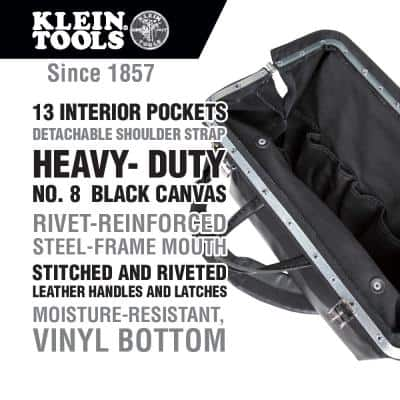 Deluxe Tool Bag, Black Canvas, 13 Pockets, 18-Inch