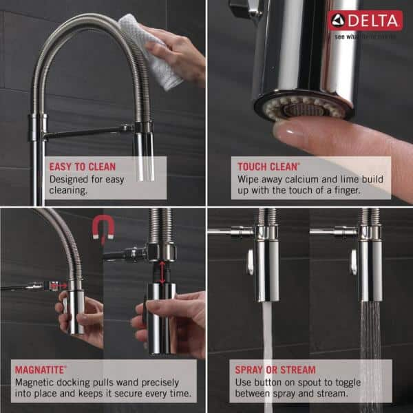 Delta Trinsic Pro Single Handle Pull Down Sprayer Kitchen Faucet With Spring Spout In Black Stainless 9659 Ks Dst The Home Depot