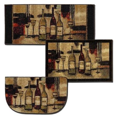 Wine and Glasses Brown 3 ft. x 4 ft. 3-Piece Indoor Rug Set