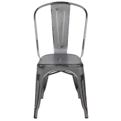 Metal Indoor Outdoor Dining Chair in Silver