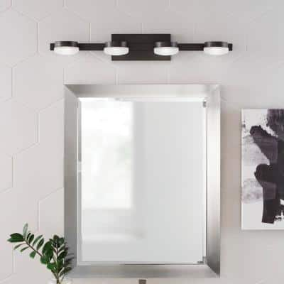 40-Watt Equivalent 4-Light Oil Rubbed Bronze Integrated LED Vanity Light with Etched Glass