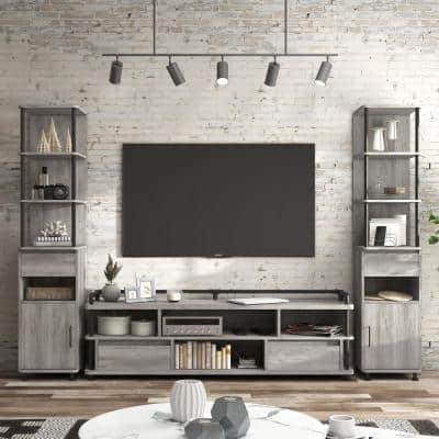 Osman 71 in. Wood Vintage Gray TV Stand Fits TV's up to 78 in. with 2-TV Tower