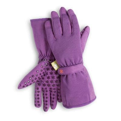Women's Large Long Cuff Fingertip Protector Gardening Gloves in Purple