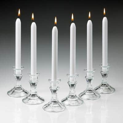 10 in. Tall Elegant White Taper Candles (Set of 12)