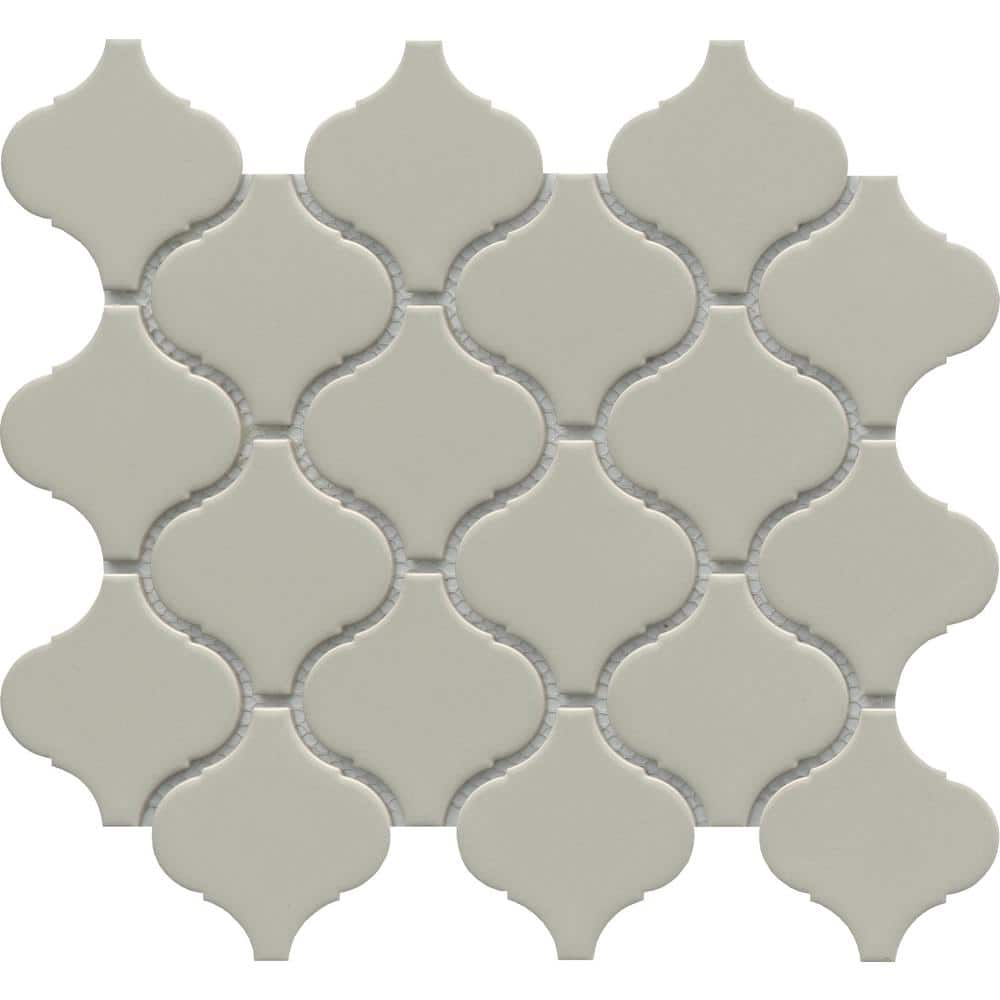 Emser Influence Fawn 9 53 In X 10 87 In Arabesque Glossy Porcelain Mosaic Tile 0 719 Sq Ft Each 1936071 The Home Depot