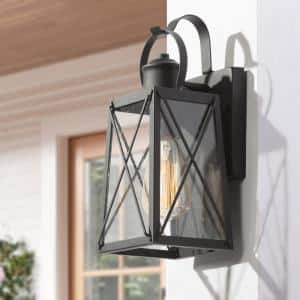 Craftsman 1-Light Classic Farmhouse Matte Black Outdoor Wall Lantern Sconce with Clear Seeded Glass
