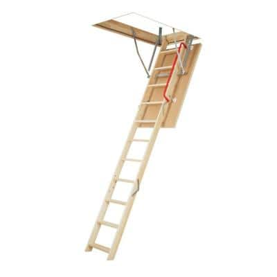 LWS-P 8.7 ft. - 10.7 ft., 22.5 in. x 54 in. Insulated Wood Attic Ladder with 300 lb. Maximum Load Capacity
