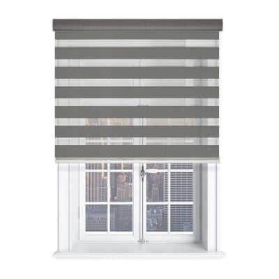 Modern Free Stop Gray Cordless Light Filtering Polyester Zebra Roller Shade with Cassette Valance 46 in. W x 72 in. L