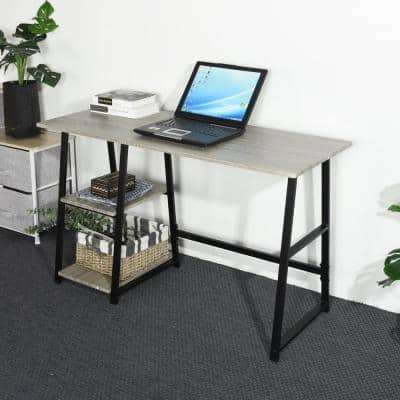 Computer Desk Grey with 2-Shelves