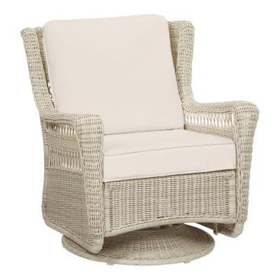 Park Meadows Off-White Wicker Outdoor Patio Swivel Rocking Lounge Chair with CushionGuard Almond Tan Cushions