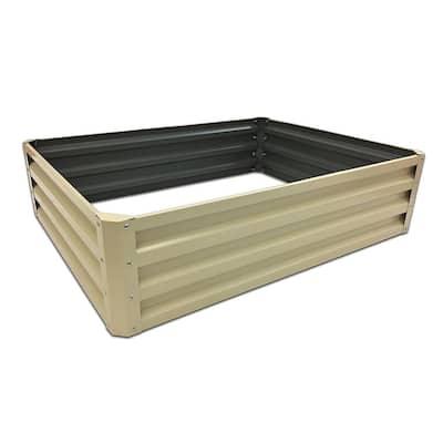 35 in. x 12 in. Beige Metal Raised Garden Bed
