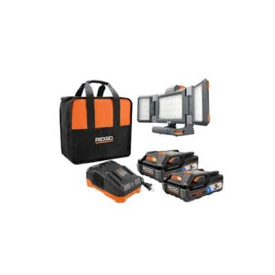 18-Volt OCTANE Lithium-Ion (2) 3.0 Ah Batteries and Charger Kit w/Free Hybrid Folding Panel Light