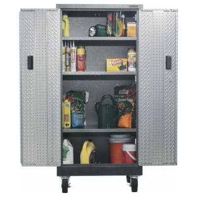 Premier Series Pre-Assembled Steel Freestanding Garage Cabinet in Silver with Casters (30 in. W x 65 in. H x 18 in. D)