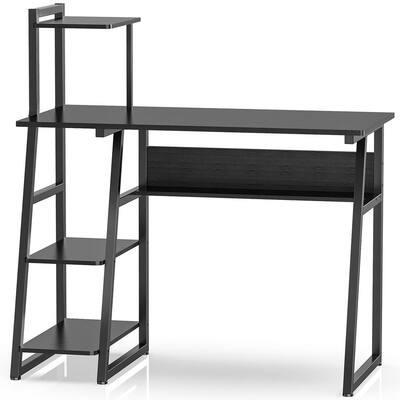 Benita 40.6 in. Retangular Espresso Writing Desk with Shelves
