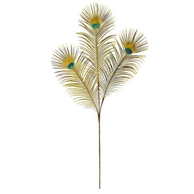 Indoor 36 in. Peacock Feather Artificial Spray (Set of 8)