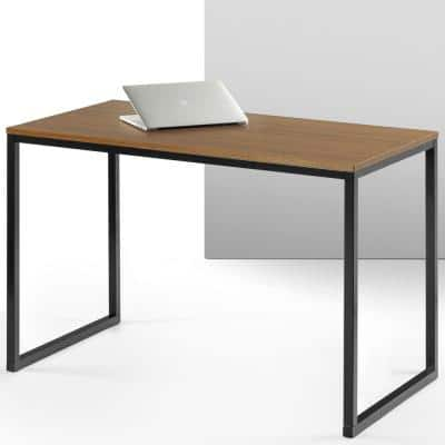 24 in. Rectangular Brown Writing Desk with Open Storage