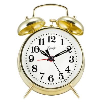 Analog 4.5 in. Round Gold Metal Twin Bell Keywind Alarm Clock