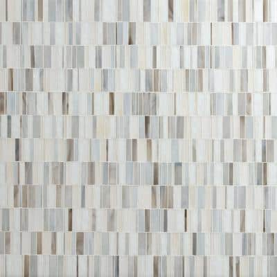 Citi Stax Greige Hand Crafted 12 in. x 12 in. x 3mm Glass Mosaic wall Tile (8.30 sq. ft./Case)