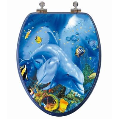 3D Ocean Series Elongated Closed Front Toilet Seat in Blue