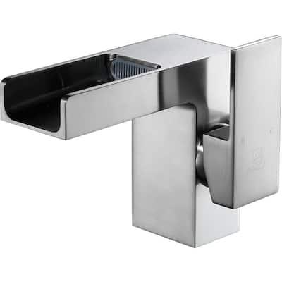 Zhona Series Single Hole Single-Handle Low-Arc Bathroom Faucet in Brushed Nickel
