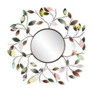 Medium Round Multicolored Finish With Neutrals And Pastels Casual Mirror (32.5 in. H x 32.5 in. W)