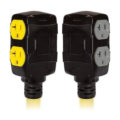 19 in. 125-Volt/250-Volt 30 Amp Duplex-Style Generator Adapter Cord