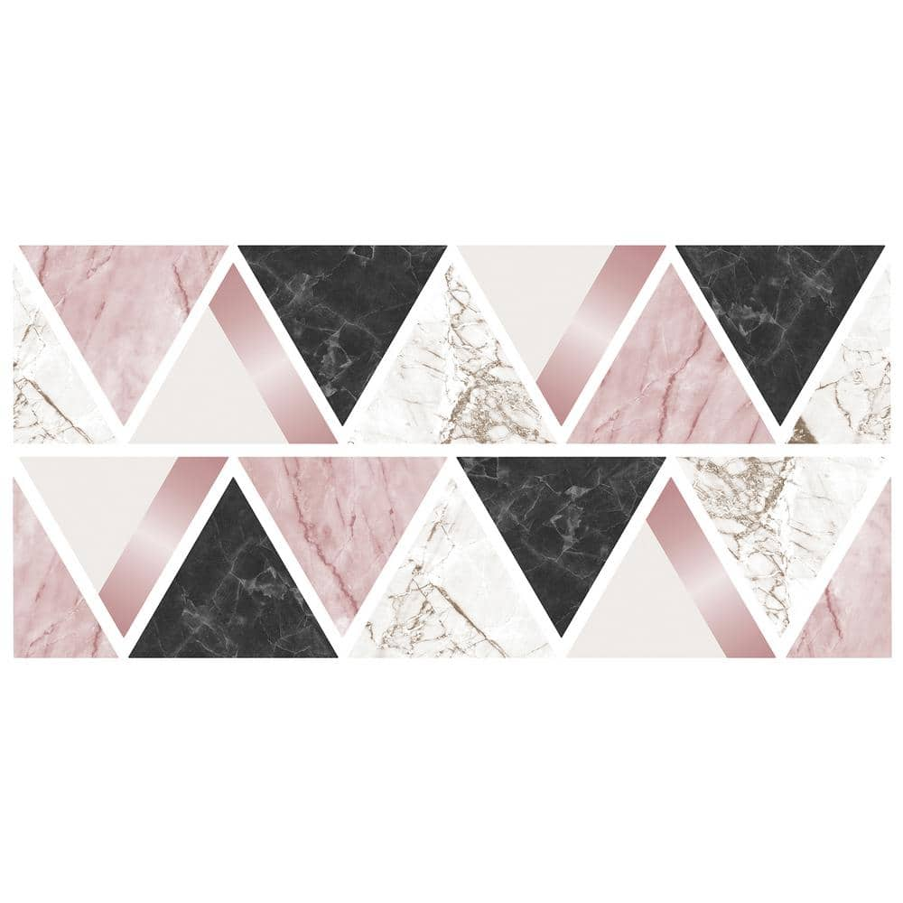 Fun4walls Rose Gold Marble Triangles Wall Sticker Wall Decals Set Of 2 Tws42384 The Home Depot
