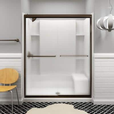 Sterling Finesse 59 5 8 In X 70 1 16 In Semi Frameless Sliding Shower Door In Starscape Deep Bronze With Handle 5475 59dr G76 The Home Depot