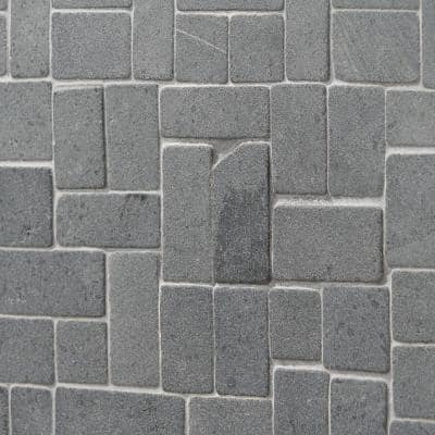 4 in. x 6 in. Countryside Black Lava Interlocking Mosaic Floor and Wall Tile Sample