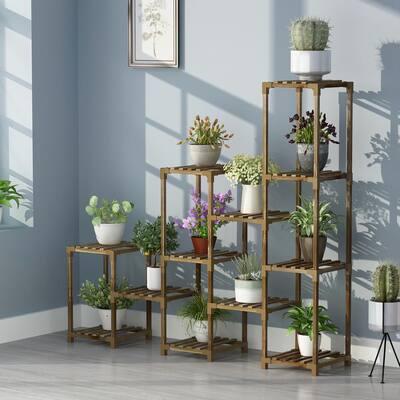 6-Tiers 12 Pots Display Rack Outdoor Indoor Brown Bamboo Wood Plant Stand Garden Flower Pot