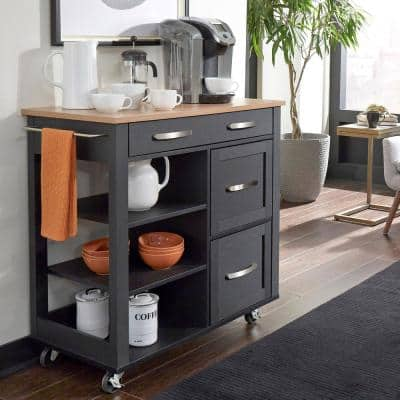 Belfast Black Kitchen Cart with Natural Wood Top