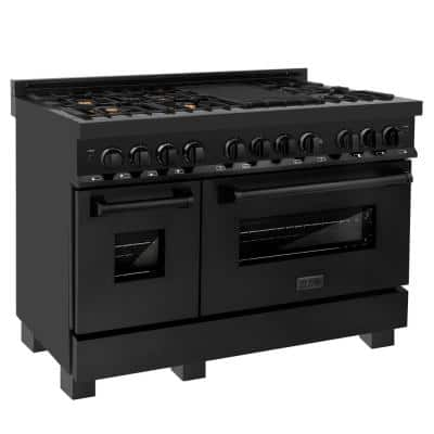 ZLINE 48 in. 6.0 cu. ft. Dual Fuel Range with Gas Stove and Electric Oven in Black Stainless Steel with Brass Burners
