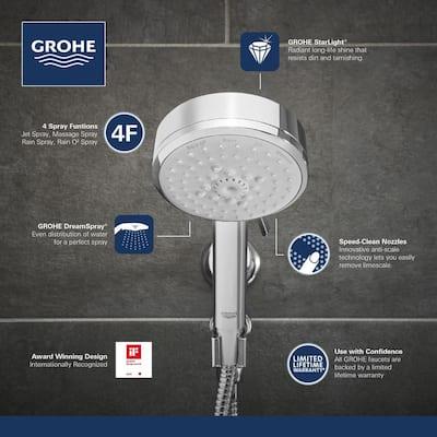 Vitalio 4-Spray 4 in. Single Wall Mount Handheld Rain Shower Head in Chrome